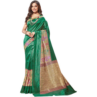 Designer Green Bhagalpuri Cotton Silk Saree SC3031