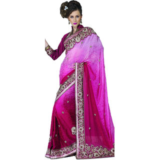 Faux Textured Crepe Heavy Embroidered saree SC2301