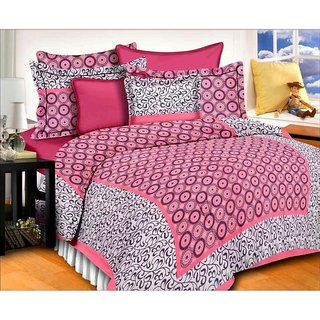 Dinesh Enterprises King Printed Cotton Bed Sheets(pink, 274x274 Cm)