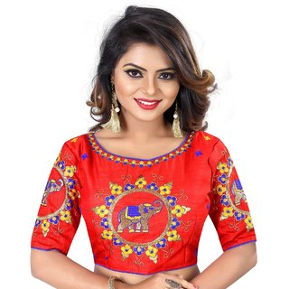 0e533730a0f84e Buy Greenvila Designs Red Silk Readymade with Pad Blouse Online - Get 63%  Off