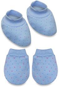 Tumble Blue Polka Dot Mitten  Booties - 0 to 6 Months