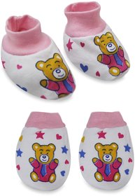 Tumble Pink Printed Mittens and Booties set - 0 to 6 Months