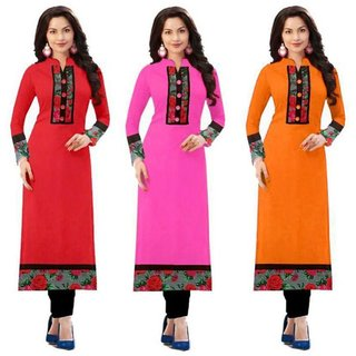 Omstar Fashion By New Designer Red, Baby pink And Orange Color Printed Indo cotton Semi stitched Kurti (RED+BABY+ORG)