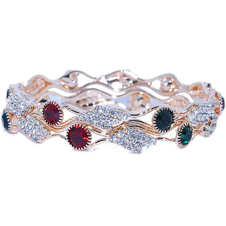 TRIFLES Ruby Green Red Floral Design Bangles Kada (Pack of 2)