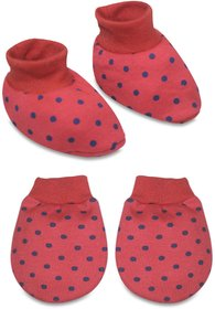 Tumble Red Polka Dot Print Mittens and Booties set - 0 to 6 Months