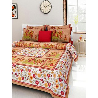 Dinesh Enterprises Rajasthan Cotton Bedsheet with 2 Pillow Covers - Classic, King Size, Multicolour
