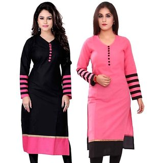 New Designer Pink And Black Color Semi Stitched Indo Cotton Printed Kurti By Omstar Fashion (COMBODOT)