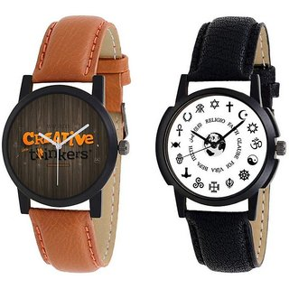 TRUE CHOICE SPECIAL LEATHER BEALT RAVI BLUE BRWON COMBO ANALOG WATCH FOR MEN BOYS.