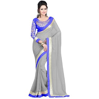 Online Fayda Grey Chiffon Embroidered Saree With Blouse