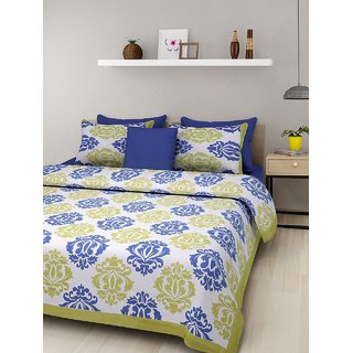 Dinesh Enterprises Rajasthan Cotton Bedsheet with 2 Pillow Covers - Classic, King Size,