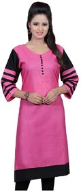Omstar Fashion By  Pink Color Simple Printed Indo Cotton Semi Stitched Kurti (DOT PNK)
