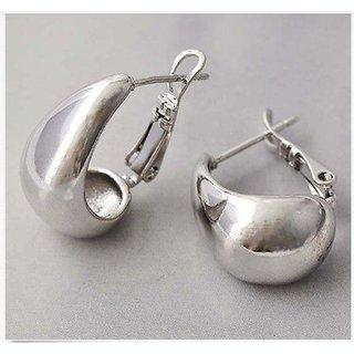 Kaju Bali Big Hoop/Huggie Oxidized Silver Unisex Earrings Bollywood Style for Men/Women