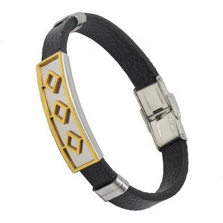 Men Style Biker Boys  Geomertic Best Friend Wristband  Gold  Silver  Black  Stainless Steel Leather Bracelet For Men boys