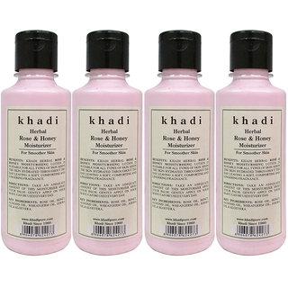 Khadi Herbal Rose  Honey Moisturizer - 210ml (Set of 4)