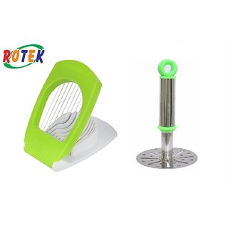 Rotek Kitchen Tool Combo of Egg Cutter With Good Quality Masher