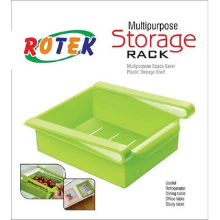 Rotek Multipurpose Space Saver Plastic Storage Shelf Holder Box Fridge Sliding Drawer Freezer Refrigerator Organizer