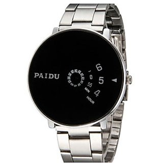 Paidu Black Round Watch For Men ,Boys New Look And Latest Designing Watch y 5star 6 month waranty