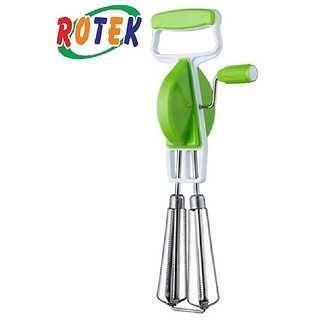 Rtoek Kitchenware Hand Twist Beater Stainless Steel Egg Lassi Beater Butter Milk Maker Mixer Hand Blender (Green)