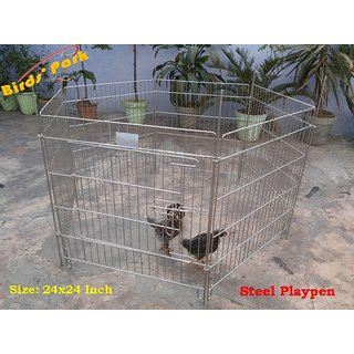 Corral in steel cage Size 24x24 Good for small Pups Rabbit  Guinea Pigs