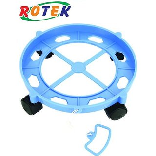 Rotek Heavy Quality Round Plastic Stand (Trolly) for Gas Cylinder Food  Container (Color May Vary)