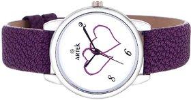 Artek Women's Purple Leather Analog Quartz Casual Watch