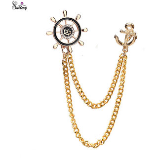 e7087d9e466c Men Style Nautical Wheel and Anchor Double Tassled Chain Lapel Pin Collar  Stud Brooch for Men n