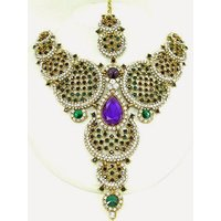 Colorful Stone Necklace Set With Mangtikka & Earrings - 67728