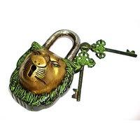 Lion Face Brass Lock In Green Antique Finish - TAS309