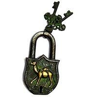 Camel  Brass Lock In Green Antique Finish - TAS314