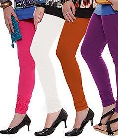 Juliet Combo of 4 Multi-color cotton leggings (4L-6(8))