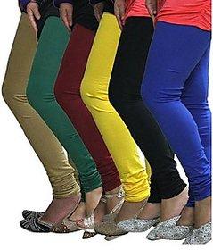 Juliet Combo of 6 Multi-color cotton leggings (6L-3(1))