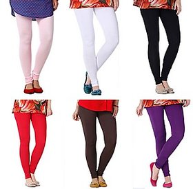 Juliet Combo of 6 Multi-color cotton leggings (6L-3)