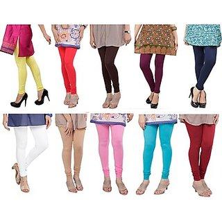 Juliet Combo of 10 Multi-color cotton leggings (10L-1)