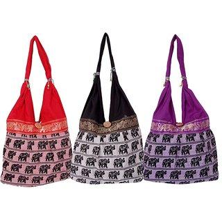 Fashion Bizz Beautiful  Rajasthani  Shoulder Bags Hand Bags Set Of 3 Pcs Combo