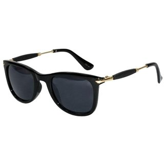 HH Elagante Black Wrap-around Non-Metal  Full Rim Wayfarer Sunglasses  Medium  (Black)