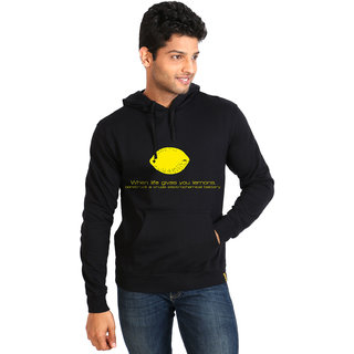 Campus Sutra Black Life Gives You Lemon Hoodie