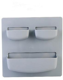 Self-adhesive Accessories holder, storage stand, Home Organizer wall-mounted Top 2 holder (Grey)