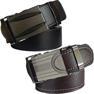 Sunshopping mens black and brown leatherite auto lock buckle belt (pack of two) (Synthetic leather/Rexine)