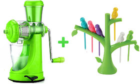 Ankur Combo of Plastic Juicer and Baby Bird Fruit Fork Multicolor