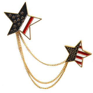 Men Style U.S. American Flag Lapel Pin Star Shaped Brooch Pin For Men