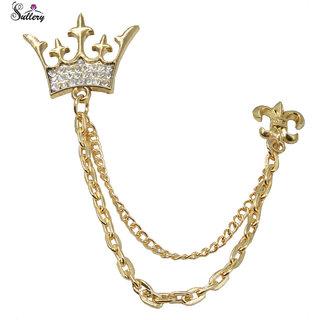 Buy men style king crown metal brooch pin men chain crystal men style king crown metal brooch pin men chain crystal rhinestone tassel brooch for men thecheapjerseys Image collections