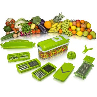 Vegetable Cutter Chopper,Slicer Dicer, Peeler All In One (Green)