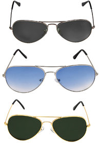 David Martin Combo of 3 Aviator Sunglasses