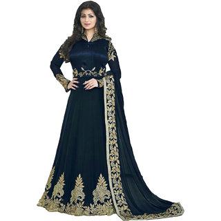 Ap Enterprise Women Georgette Anarkali Semi-Stitched Salwar Suit (Fashion AryanERTY10208BlueFree Size)
