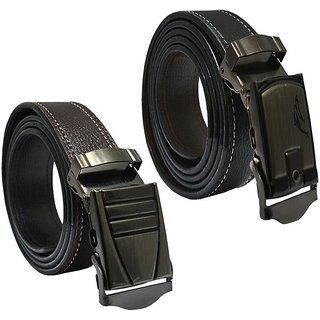 Sunshopping mens brown and black leatherite auto lock buckle belt (pack of two) (Synthetic leather/Rexine)