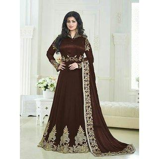 Ap Enterprise Women Georgette Anarkali Semi-Stitched Salwar Suit (Fashion AryanERTY10211Brown Free Size)