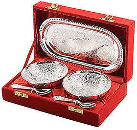 SAtya Vipal Handmade Silver 2 Brass Bowl Spoon 1 tray Set