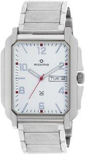 Maxima Quartz White Rectangle Men Watch 22040CMGI