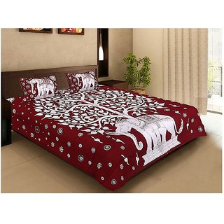 Dinesh EnterprisesRajasthan Cotton Bedsheet with 2 Pillow Covers - Classic, King Size, Multicolour