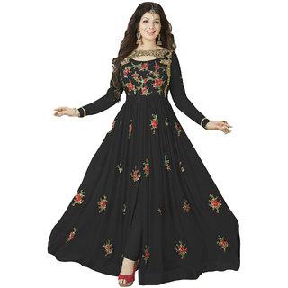 Ap Enterprise Women Georgette Anarkali Semi-Stitched Salwar Suit (ERTY10212BlackFree Size)